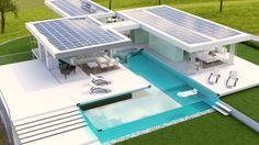complete solar powered home.. self sustaining with energy and water. ps.. heated swimming pool.mmmm