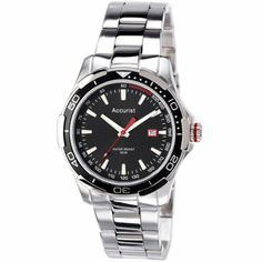 Accurist Mens Stainless Steel Black Dial Watch - MB907BB  RRP: £60.00 Online price: £52.00 You Save: £8.00 (13%)  www.lingraywatches.co.uk