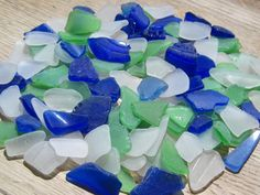Bulk Sea Glass for Sale: Cobalt Blue Green Beach Wedding by TidesTreasures, $38.00