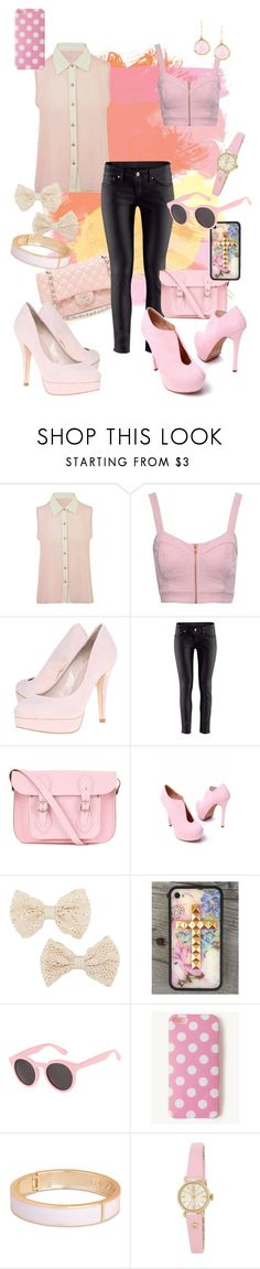 """Black leather, with a touch of pink"" by sw-13 ❤ liked on Polyvore featuring Jane Norman, Chanel, Carvela, H&M, The Cambridge Satchel Company, MOOD, Illesteva, Tokyo Jane, Radley and SuShilla"