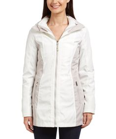 Love this Ivory & Silver Hooded Zip-Up Jacket by Jessica Simpson Collection on #zulily! #zulilyfinds
