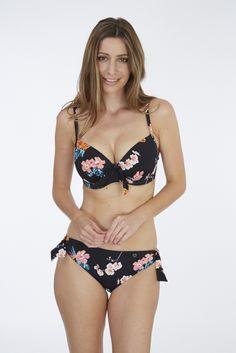 Tropical Moulded Plunge Bikini Top & Pant (with ties) | Black Print
