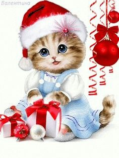 The perfect Cute Cat Gifs Animated GIF for your conversation. Merry Christmas Gif, Christmas Kitten, Christmas Scenes, Christmas Animals, Vintage Christmas Cards, Christmas Wishes, Christmas Pictures, Christmas Greetings, Christmas Time