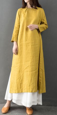 Elegant o neck linen clothes Fabrics yellow Dress Elegant o neck l. Elegant o neck linen clothes Fabrics yellow Dress Elegant o neck linen clothes Fabric Linen Dresses, Women's Dresses, Elegant Dresses, Cotton Dresses, Muslim Fashion, Hijab Fashion, Fashion Outfits, Kurta Designs Women, Blouse Designs