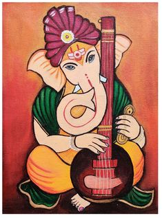 Lord Ganesha Paintings, Ganesha Art, Simple Canvas Paintings, Diy Canvas Art, Canvas Painting Tutorials, Fabric Painting, Mandala Art Lesson, Indian Folk Art, Madhubani Painting