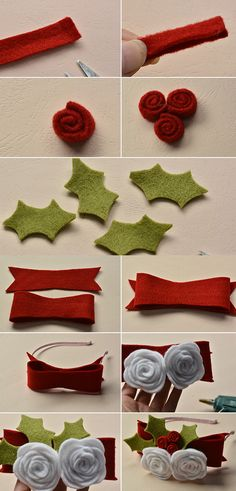 flower hair clip, right? Then pay more attention to LC., it will publish tutorial soon. Christmas Craft Fair, Christmas Bows, Felt Bows, Ribbon Bows, Ribbon Flower, Ribbon Hair, Felt Headband, Baby Headbands, Flower Headbands