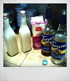 Homemade sugar free fat free coffee creamer. Just mix fat free half and half with any flavor (or flavors) sugar free syrup! I used 2/3c half and half to 1/3c  syrup, but it can easily be adjusted to your taste. The possibilities are endless! I started with chocolate macadamia nut and vanilla hazelnut, just make sure to shake before you add to your coffee in the morning :) enjoy!!