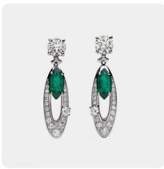 Elisia earrings in white gold with marquise-cut emeralds and diamonds by BVLGARI Sapphire Jewelry, Emerald Earrings, Diamond Jewelry, Gemstone Jewelry, Silver Earrings, Turquoise Necklace, Emerald Diamond, Unusual Jewelry, Fine Jewelry