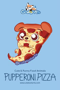 Cute Food Sticker Art Pupperoni Pizza by Cute Loot Arts