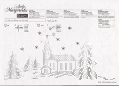 Xmas Cross Stitch, Counted Cross Stitch Patterns, Cross Stitch Embroidery, Christmas Charts, Christmas Cross, Crochet Pumpkin Pattern, Cross Stitch Landscape, Crochet Curtains, Filet Crochet