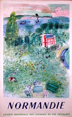 Vintage Travel Poster - France - Normandie, vintage travel poster, Raul Dufy, 1950