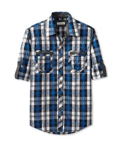 7 Diamonds Men's Summersault Plaid Double Pocket Long Sleeve Shirt at MYHABIT