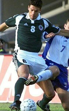 Finland 2 Germany 2 in June 2001 in Helsinki. Michael Ballack tries to get a shot away in the World Cup Qualifier, Group 9 game.