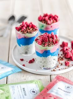 These Unicorn Chia Pudding and Yoghurt Parfaits are healthy and super easy to make. They're perfect option for breakfast or dessert.  Ingredients: Mango chia pudding for 3-4 servings: 400g (about 3 dl) vegan yoghurt with mango flavour 100ml plant-based milk 100g chia seeds Beetroot Powder, Superfood Powder, Rainbow Smoothies, Pudding Ingredients, Unicorn Foods, Superfood Recipes, Vanilla Flavoring, Chia Pudding, Vegan Breakfast Recipes