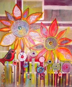 Paper Acrylic Canvas Collage Floral Flowers Bird Garden Abstract  Painting - Dreams Desire by Robin Mead