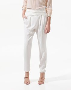 TROUSERS WITH SASH BELT - Trousers - Woman - ZARA $79.90 USD