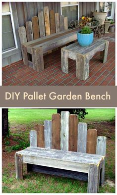 Pallet Garden Bench - Pallet Furniture Ideas with 25 Complete DIY Projects - I H. Pallet Garden Be Pallet Garden Benches, Pallet Garden Furniture, Diy Furniture Projects, Outdoor Pallet, Furniture Design, Pallet Bench Diy, Pallet Gardening, Pallet Tables, Pallet Bar