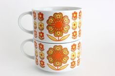 Retro Soup Mugs Flower Power Cups Daisies Set 2. $16.00, via Etsy.