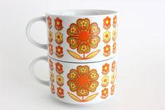 Retro Soup Mugs Flower Power Cups Daisies Set 2. $16.00, via Etsy.