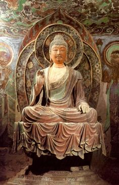 Buddha, Mogao Caves, China:  MAKES SURE JESUS COULD NEVER IMPREGNATE HIS OTHER WOMEN OUTSIDE HIM MARRIAGES HERUM (SOUNDS LIKE) NOT EVER, GO RETRO.