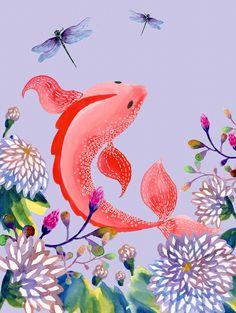 Mi nueva ilustración es una explosión de color venida de Oriente 🎈🎏 / My red goldfish is a color explosion coming from Far East 🎈🎏   Www.veraandthebirds.com   #goldfish #goldfishes #carpa #fish #red #japaneseillustration #chineseillustration #chinesebrushpainting #koi #watercolorprint #watercolor #illustration #ilustracion #acuarela #colors #colorful #painting #print #instaart #artoftheday #Nurserywallart