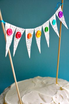 If doing the yarn wall, trade the pennants for miniature yarn pom-poms