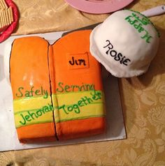 an RBC cake!! What a great idea,  you would have to make a few of them for a quick build..but its a beautiful cake, I like that it has a brother and a sisters name on the cakes, because we all work together serving Jehovah.  Its wonderful.