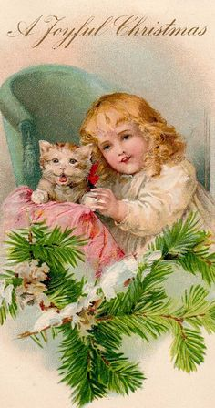 """Vintage Victorian Girl and Kitten  """"A Joyful Christmas"""""""