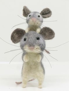 Needle Felted Mouse Mother with Baby Dolls House Figure OOAK