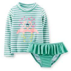Carter's Girls 2 Piece Light Green Striped Flamingo Print Long Sleeve Rash Guard and Bottom Swimwear Set- Infant/Toddler