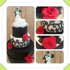 Red, black, and white wedding cake with a Frankenstein and bride cake topper. It has red fondant roses and the design on the middle tier is made to look like stitching to go with the Frankenstein topper.  www.facebook.com/cakeitorleaveitcakesbymarianne