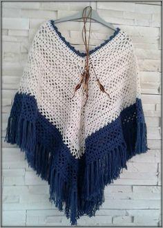 """Poncho """"Boho"""" Femme crochet entre """"Terre et Mer"""" Fait main : Echarpe, foulard…"""