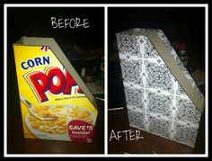 Recycled cereal box to magazine holder... Cereal box + contact paper + scissors + ruler