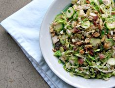 brussels sprouts salad with bacon: a hearty, delicious salad packed with nutrition via thesproutingseed.com