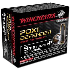 Ammo 9mm Luger +P Winchester PDX1 Defender 124 Grain Bonded Jacketed Hollow Point 1200 fps 20 Rounds S9MMPDB