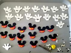 Creating the candy toppers for cupcakes.