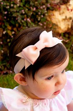 Baby Bow Set of 6 Baby headband Large Bowtie Bow by KinleyKate