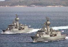 Royal Australian Navy ANZAC class Frigates FFH-150 HMAS Anzac and FFH-151 HMAS Arunta.