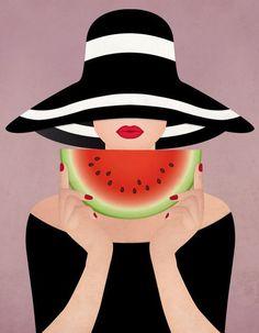 Oh, summer! by Sanja Veljanoska, via Behance watermelon girl summer girl illustration - DESSIN points ET lignes Art And Illustration, Girl Illustrations, Art Pop, Illustrator Tutorial, Watermelon Girl, Arte Fashion, Grafik Design, Oeuvre D'art, Graphic Art