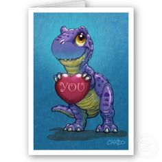 T-Rex Valentine card is the cutest dinosaur you'll find. For kids or adults.