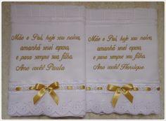 Lembrança para pais e padrinhos linda toalha de lavabo aveludada