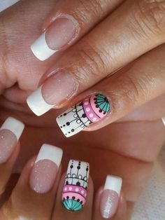 Uñas lindas Simple Nail Art Designs, Nail Designs, Love Nails, Fun Nails, Indian Nails, Mandala Nails, Nail Polish Art, Rainbow Nails, Manicure And Pedicure