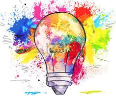 Hand drawn light bulb over bright colorful blots of paint on white concept of creativity and innovat Stock Photo