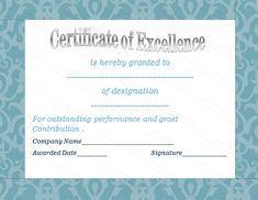 Best employee award certificate template award certificate elegant certificate of excellence template sample with blue border helloalive thecheapjerseys Image collections