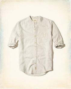 I am looking for a linen shirt (or light weight cotton) with a banded collar like this one.  ~ B. Mabry