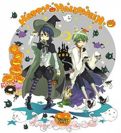 Happy Halloween, text, Mephisto, Amaimon, witch, mummy, cute; Blue Exorcist