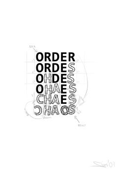 order out of chaos Typography Letters, Graphic Design Typography, Book Cover Design, Book Design, English Logo, World Of Chaos, Church Design, Vintage Lettering, Gcse Art