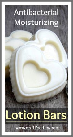 Antibacterial Moisturizing Lotion Bars. I make these to bring to work, and for when we are out and about with the kids. After handwashing, we can moisturize and protect. None of that synthetic antibacterial soap needed! Plus they make your skin super soft! realfoodrn.com