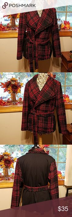 "Lane Bryant tweed looking jacket Lane Bryant tweed looking jacket with tie closure. Looks great layered. Pre-loved Approximate measurments lying flat 17"" across shoulders 22"" armpit to armpit 26"" lenght from back of neck to hemline Lane Bryant Jackets & Coats"