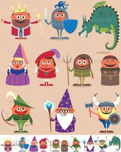 Illustration about Set of 10 cartoon medieval characters. Below are the same characters customized for white background. No transparency and gradients used. Illustration of dragon, dress, dark - 35307654 Fun Activities For Kids, Crafts For Kids, Diy Crafts, Medieval World, Medieval Art, Free Vector Images, Vector Free, Knight Party, Christmas Tree Background